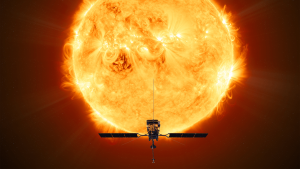 Satelite Orbitting In Space Near The Sun