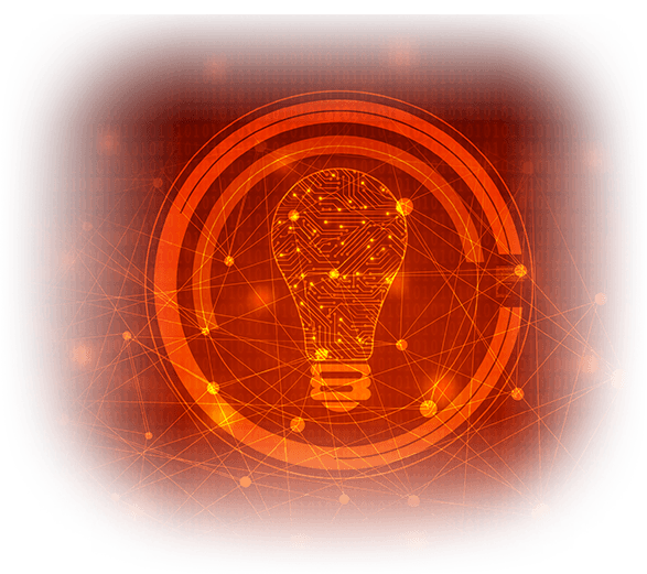 icon of a microchip style lightbulb
